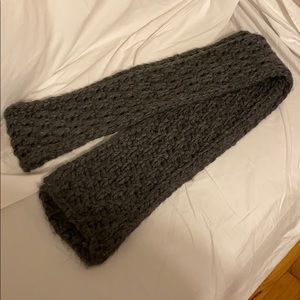 Ann Taylor Loft knitted wool gray scarf extra long